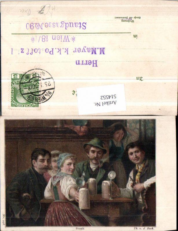 514552,Künstler AK Th. v. d. Beek Prosit Personen Bier Bierkrüge Pfeife Rauchen