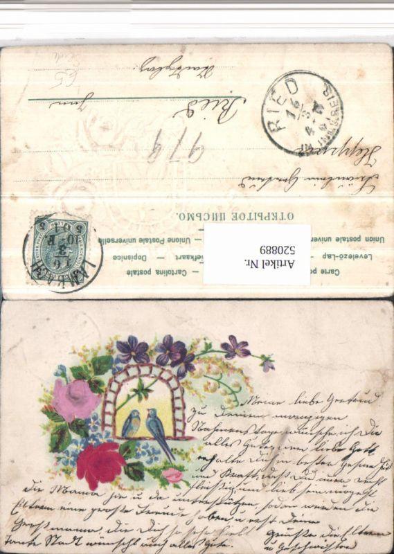 520889,Präge Material Litho Seide Rosen Blumen Vögel