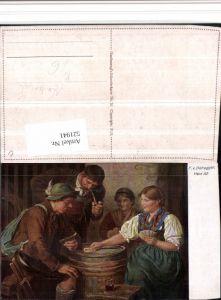 521941,Künstler AK F. v. Defregger Her Aß Kartenspiel Spiel Pfeife