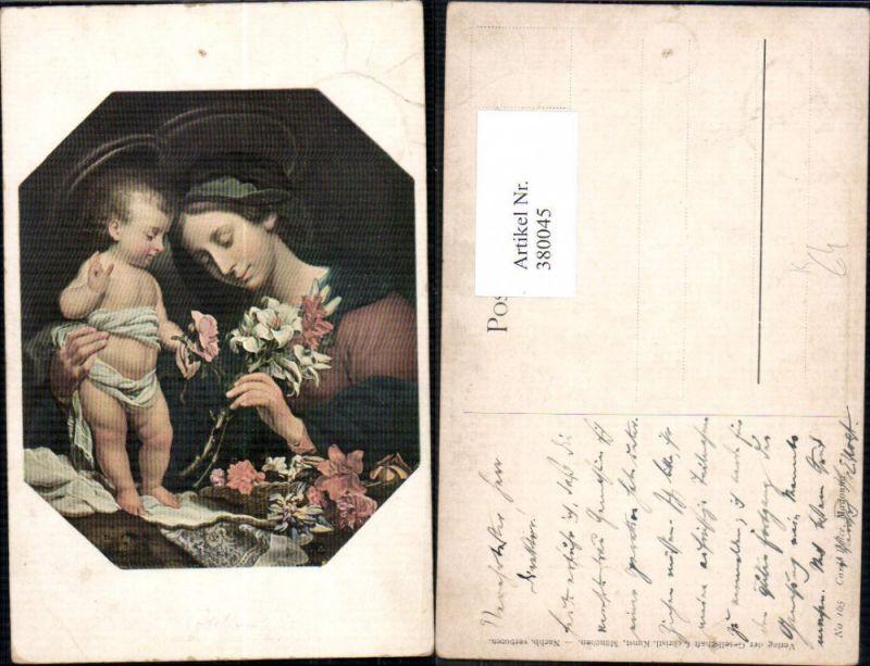 380045,Künstler Ak Carlo Dolce Madonna m. Kind Heiligenschein Blumen Religion