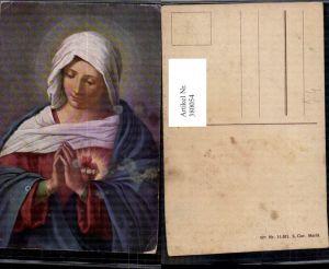 380054,Künstler Ak S. Cor. Maria Herz Maria Heiligenschein Betende Hände Religion