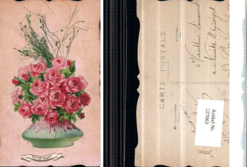 527663,handgemachte Material AK Rosen Blumen geklebt