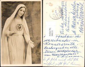 380131,Künstler Ak Statue Heilige m. Herz Rosenkranz Religion
