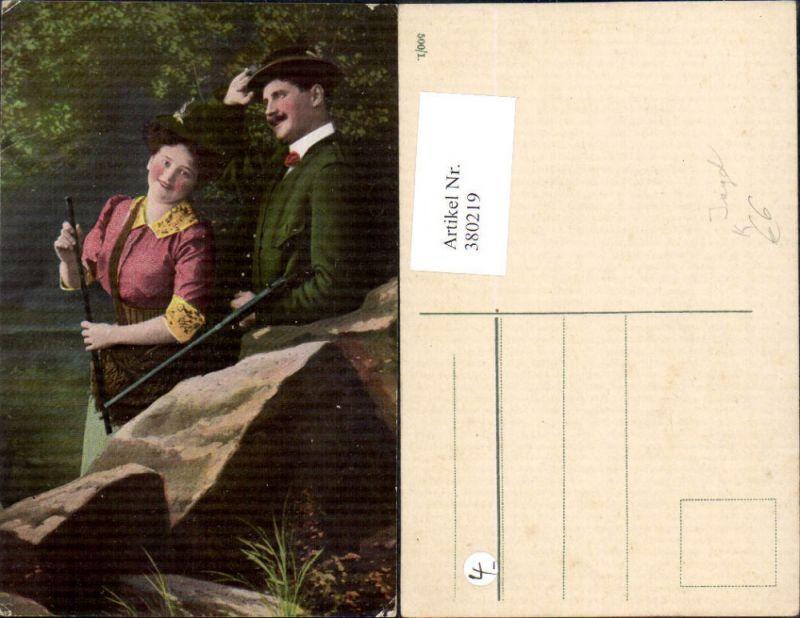 380219,Jagd Jäger m. Frau Liebe Tracht Gewehr