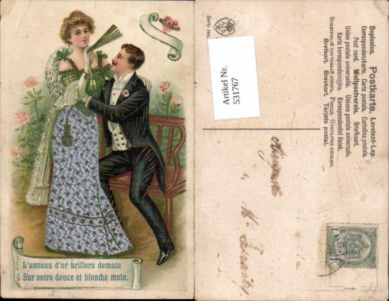 531767,tolle Präge Litho Material Frau Liebe Paar Fächer Seidenkarte Seiden AK