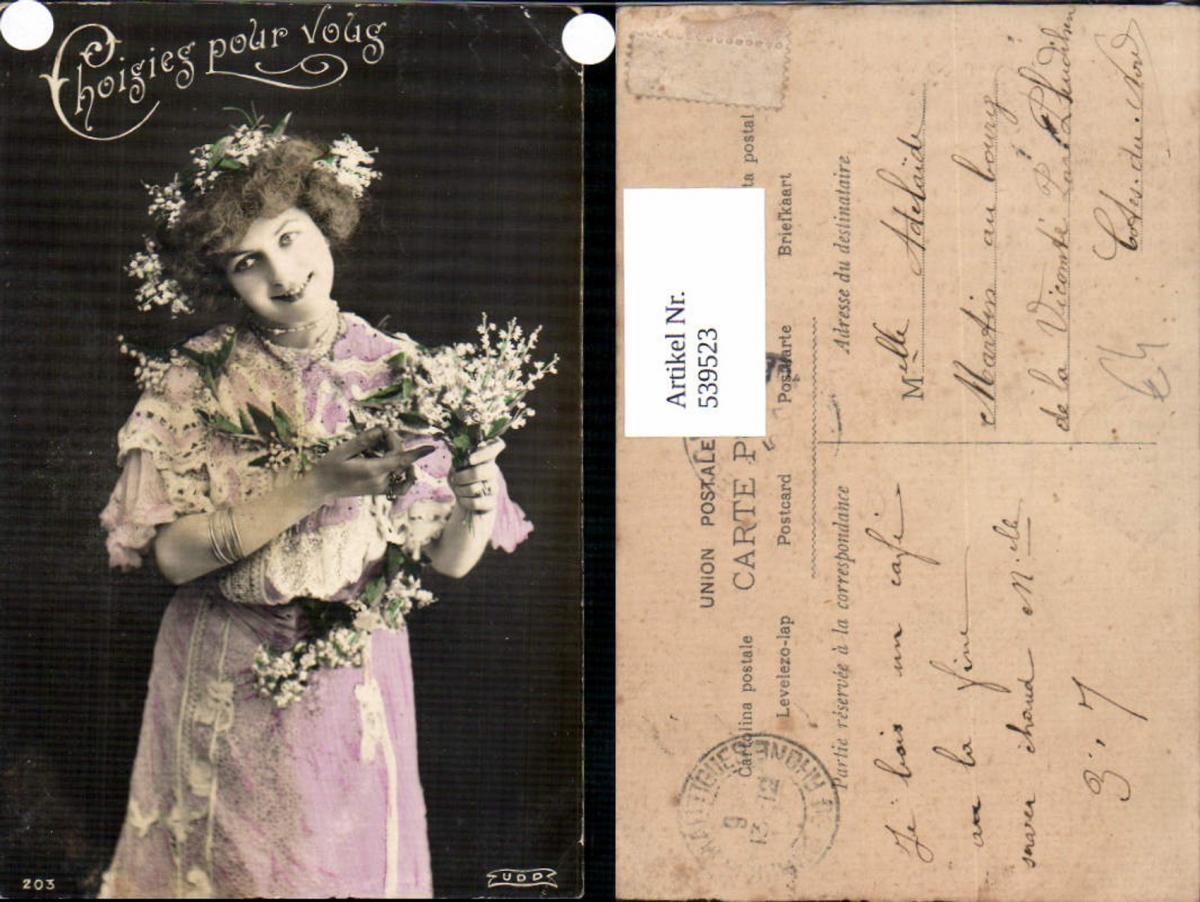 539523,tolle Foto-AK Frau Kleid Mode Blumen Girl Woman Fotokunst