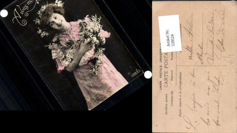 539524,tolle Foto-AK Frau Kleid Mode Blumen Girl Woman Fotokunst
