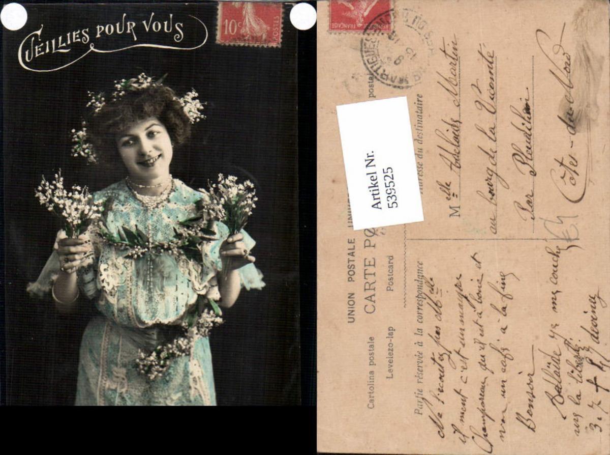 539525,tolle Foto-AK Frau Kleid Mode Blumen Girl Woman Fotokunst