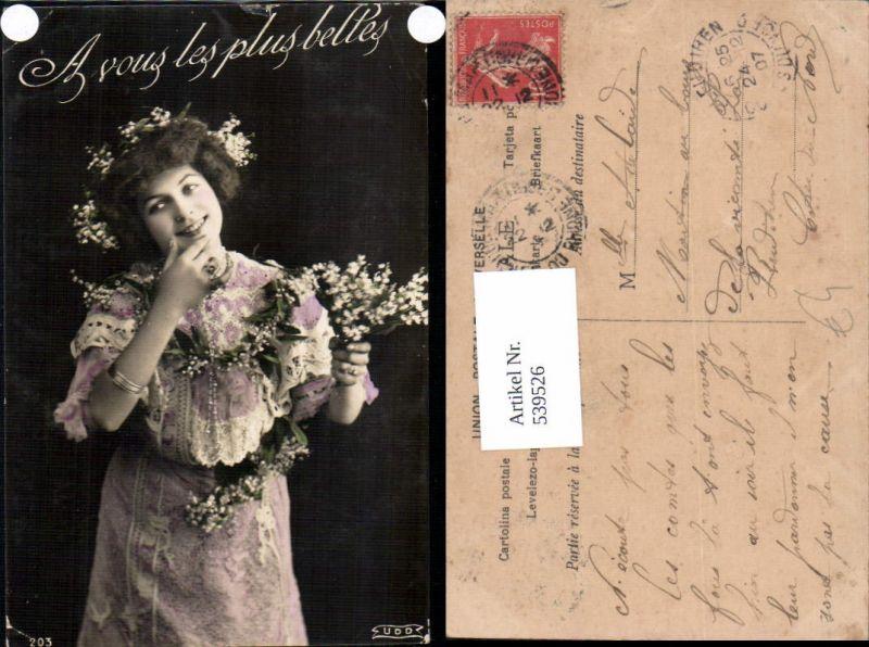 539526,tolle Foto-AK Frau Kleid Mode Blumen Girl Woman Fotokunst
