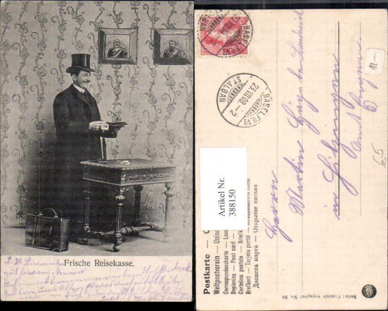 388150,Mann Anzug Hut Zylinderhut b. Tisch stehend Koffer Frische Reisekasse