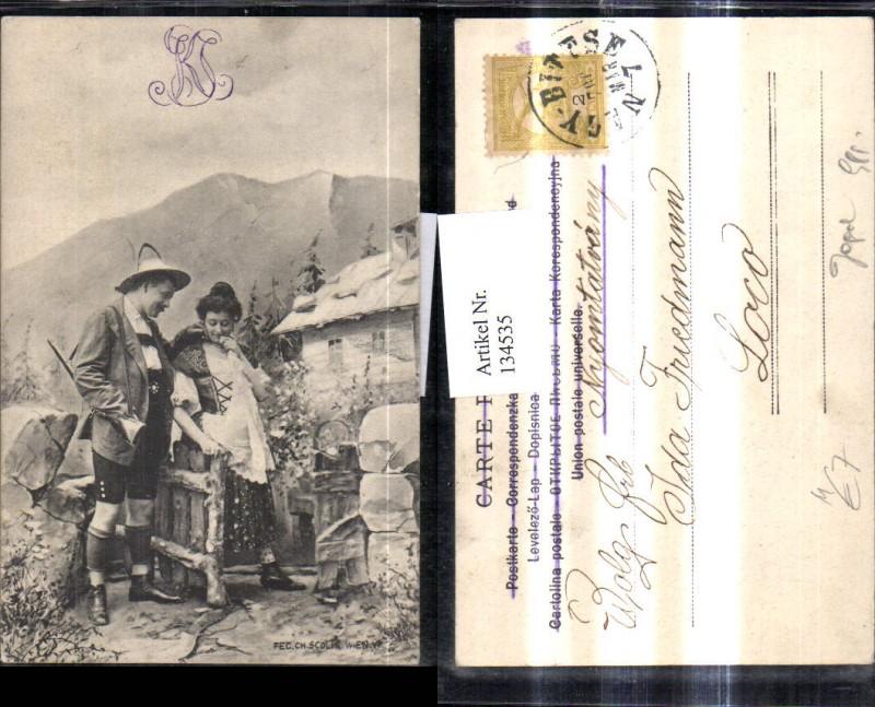 134535,Jagd Jäger m. Frau Tracht Gewehr Bergkulisse Berghof