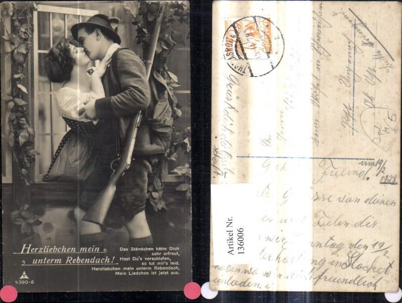 136006,Jäger Kuss Frau a. Fenster Jagd Gewehr Spruch Text