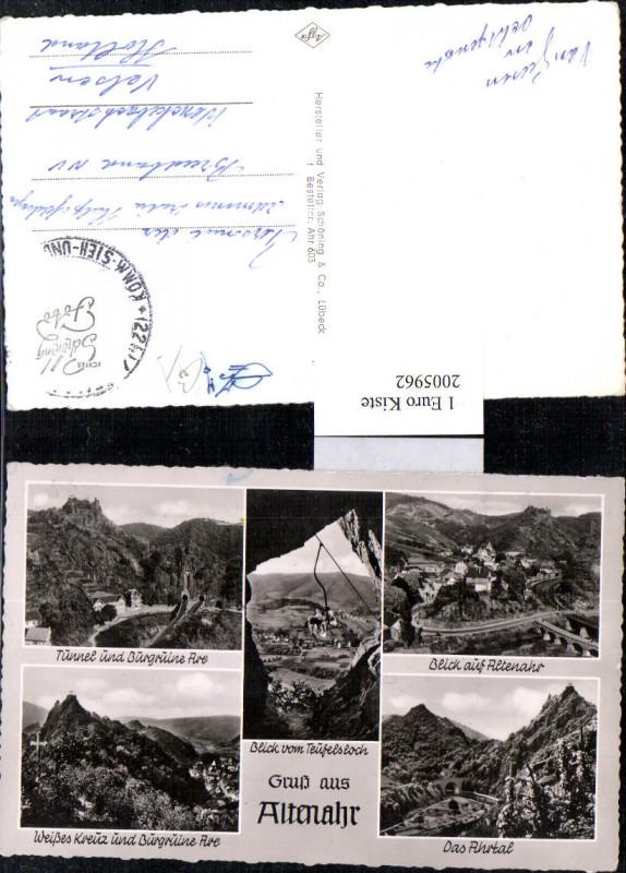 2005962,Gruß aus Altenahr Totale Weißes Kreuz u. Burgruine Tunnel Sessellift Mehrbildkarte