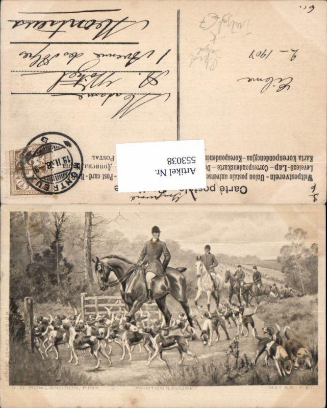 553038,Künstler AK G.D. Rowlandson Jagd Jäger Tiere Treibjagd Hunde Photogravure Pferd