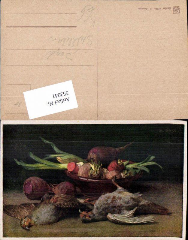 553041,Künstler AK Stillleben Vogel Vögel Jagd Jäger Tiere Gemüse