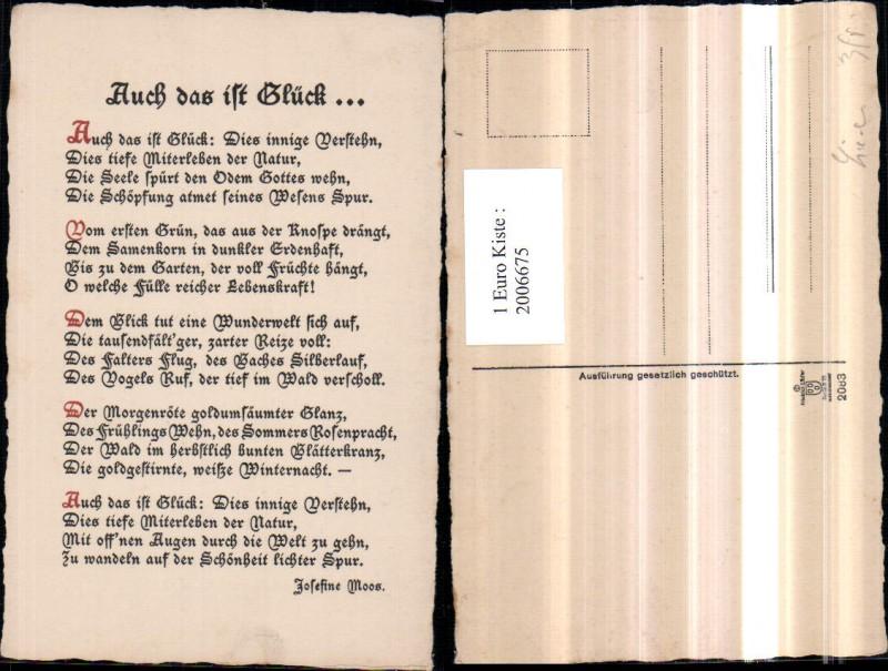2006675,Gedicht Text Auch das ist Glück von Josefine Moos