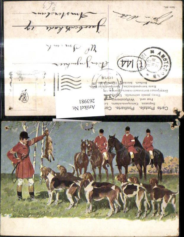 263981,Künstler Ak A. Hoffmann Fuchsjagd Pferde Fuchs Jäger Hunde Jagdhunde Jagd