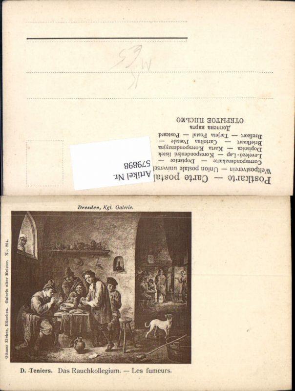 579898,Künstler Ak D. Teniers Das Rauchkollegium Les fumeurs Pfeife Rauchen Hund