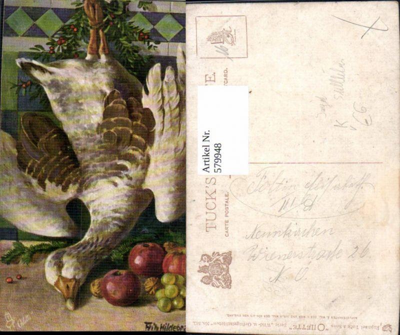 579948,Künstler Ak Fritz Hildebrandt Wild u. Geflügel Stillleben Essen Jagd pub Raphael Tuck Sons 543