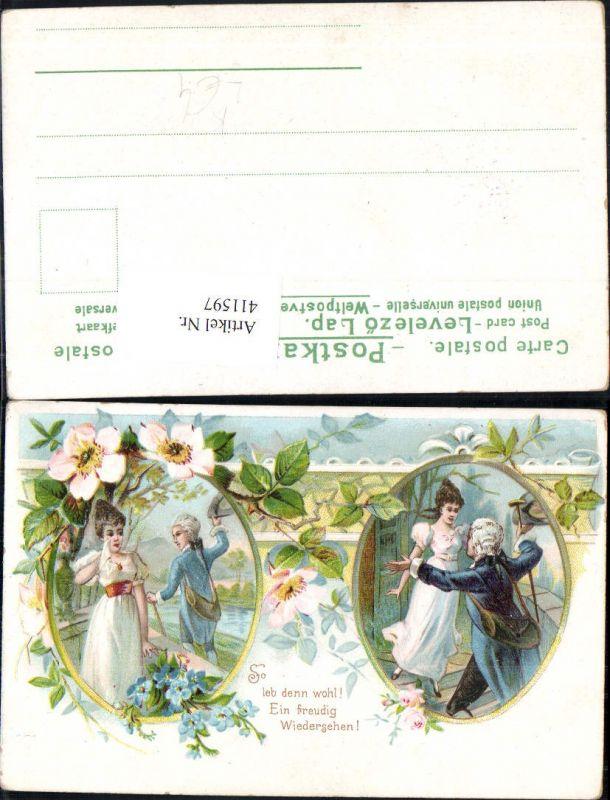 411597,Künstler Litho Paar Wiedersehen u. Abschied Liebe Spruch Blumen Rosen