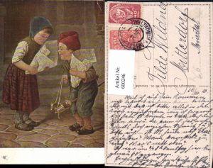 600246,Künstler Ak Kaulbach Hast du mehr Kinder m. Steckenpferd Holzpferd Holzspielzeug