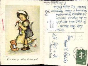 600234,Künstler Ak Bukac Mädchen Krankenschwester m. Puppe Teddy Holzpferd Spielzeug