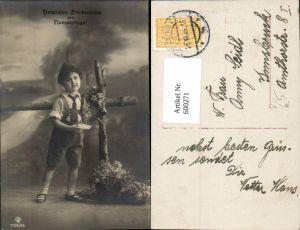 600271,Kind Bub Junge m. Lederhose Tracht Hut Brief Namenstag pub RPH SBW 7195/96