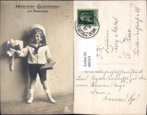 600314,Kind Bub Junge Matrosenanzug Geschenk Rosen Blumen Namenstag pub RPH 3389/5