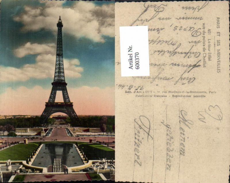 600370,Turm Paris Eiffelturm La Tour Eiffel vue du palais de Chaillot