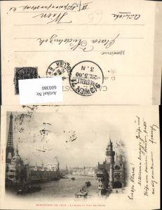 600380,Turm La Tour Eiffel Eiffelturm Exposition de 1900 La Seine au Pont de l Alma