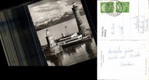 600428,Foto Ak Leuchtturm Lindau i. Bodensee Hafeneinfahrt Schiff Dampfer
