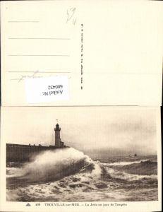 600432,Foto Ak Leuchtturm Trouville-sur-Mer La Jetee un jour de Tempete Brandung