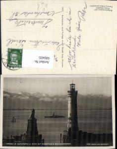 600435,Foto Ak Leuchtturm Lindau i. Bodensee Scesaplana Schiff Dampfer pub Risch-Lau 1009