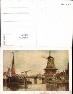600479,Künstler Ak Windmühle Segelboot Brücke