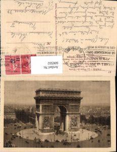 600502,Paris La Place de l Etoile et l Arc de Triomphe Triumphbogen Kreisverkehr