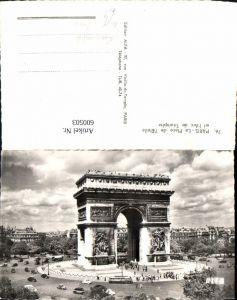 600503,Foto Ak Paris La Place de l Etoile et l Arc de Triomphe Triumphbogen Kreisverkehr Bus