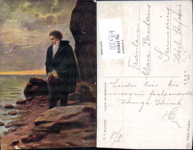 600564,Künstler Ak C. V. Muttich Ludwig v. Beethoven Komponist Ufer Küste stehend 0