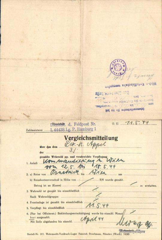 600598,Beleg WK2 Vergleichsmitteilung Hamburg L 44438 Lager 1944