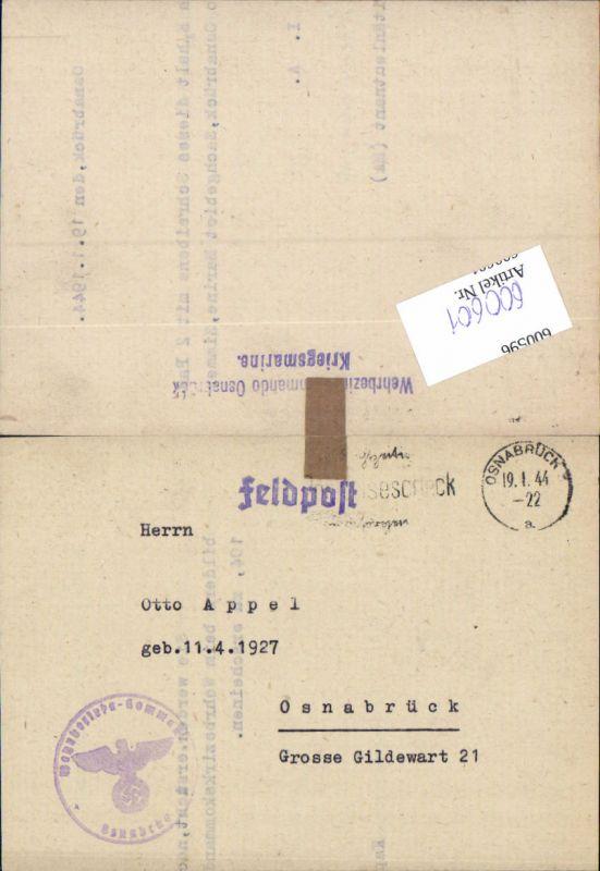 600601,Feldpost WK2 Osnabrück 1944 Kriegsmarine Wehrbezirkkommando