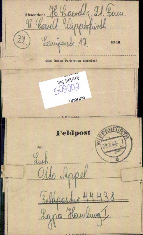 600605,Feldpost WK2 Wipperfürth n. Lgpa Hamburg Luftwaffe