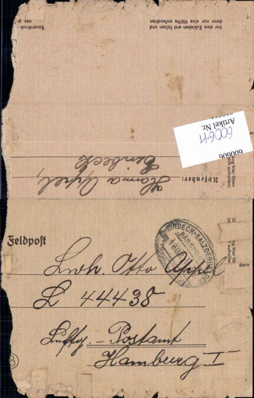 600611,Feldpost WK2 Bahnpost Einbeck  Salzderhelden Zug 1387