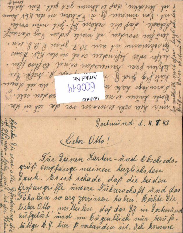 600614,Feldpost WK2 Dortmund 1943 KLV RAD Bezug Text