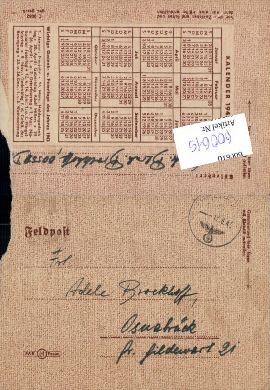 600615,Feldpost WK2 00558 nach Osnabrück