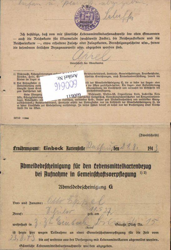 600616,Feldpost WK2 Einbeck Hannover Ernährungsamt Bestätigung