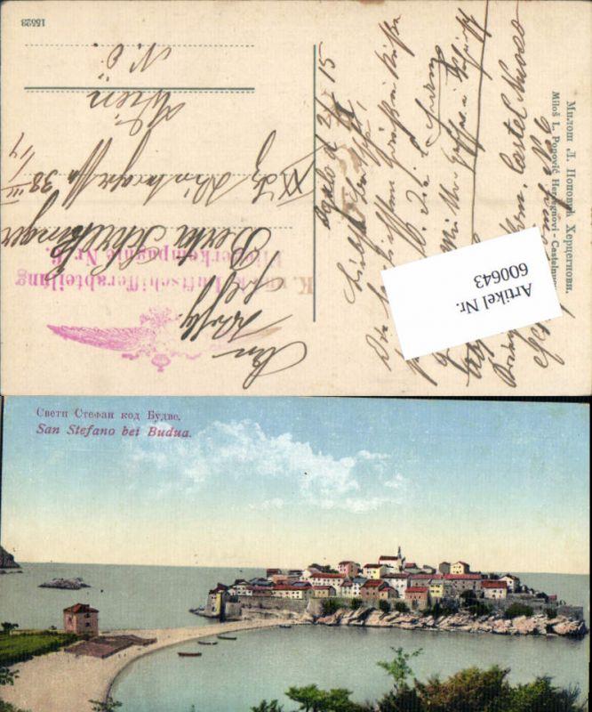 600643,San Stefano Budua Castelnuovo Feldpost K. u. K. Luftschifferabteilung Fliegerkompagnie