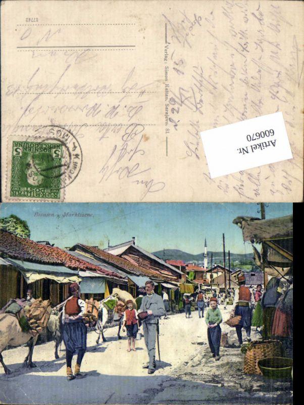 600670,Sarajevo Bosnien Typen Marktszene Bosnia Hercegovina Feldpost Militär Post