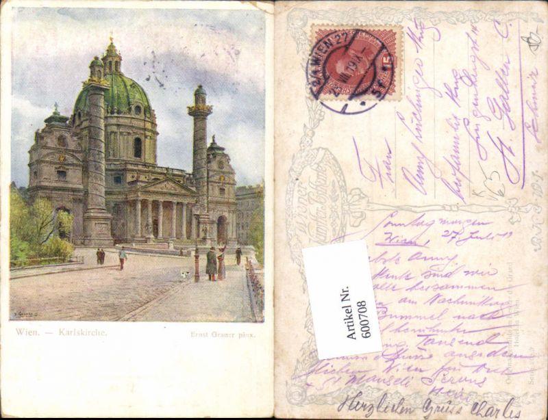 600708,Künstler AK Ernst Graner Wien Wieden Karlskirche B.K.W.I. 208-5