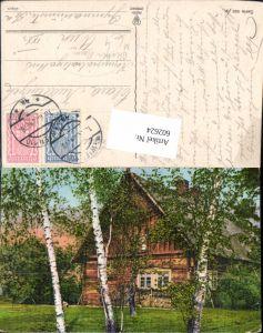 602624,Birke Birken Bäume v. Holzhaus Haus