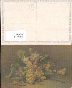 602626,Künstler Ak Stillleben C. Von Sivers Weintrauben Trauben Obst Früchte Blumen