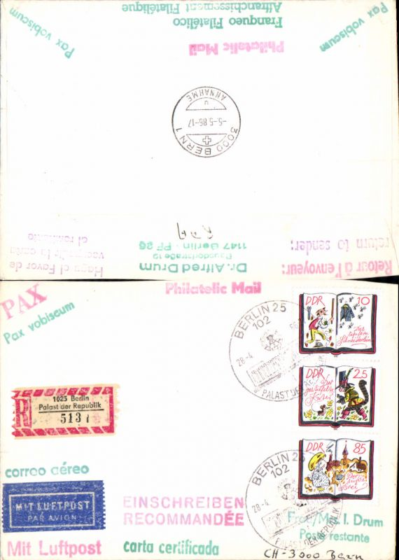 602656,Reco Einschreiben Berlin Palast der Republik 5131 Luftpost n. Bern DDR Philatelic Mail